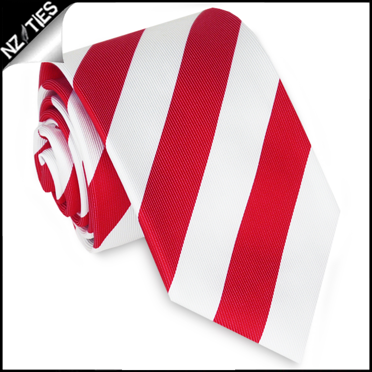 Red & White Stripes Mens Sports Necktie
