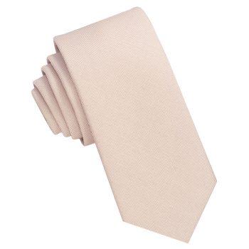 Beige Cotton Blend Skinny Tie