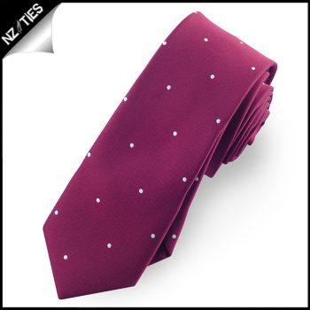 Burgundy Pin Dot Mens Skinny Necktie