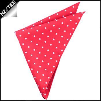 Cherry Red Polka Dot Pocket Square Handkerchief