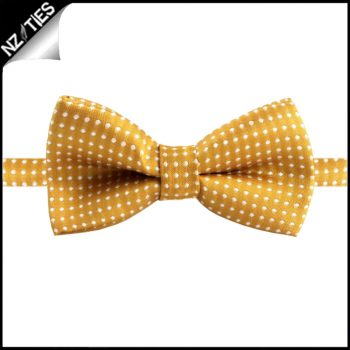 Boys Gold Yellow With White Polka Dots Bow Tie