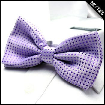Mens Purple Polkadots Bow Tie