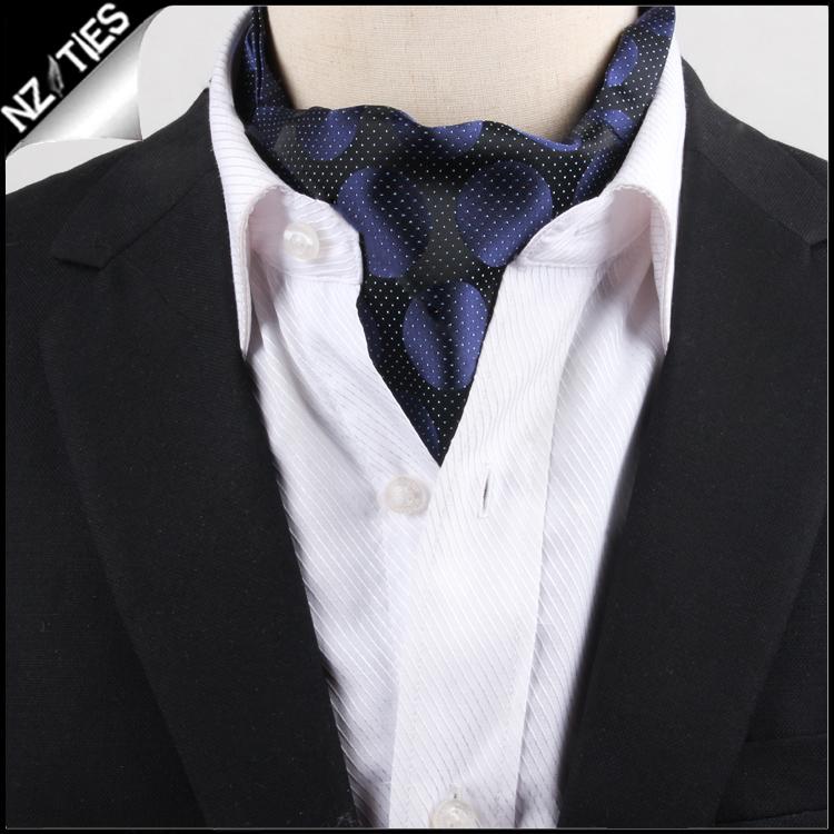 Men's Black Pin Dot with Navy Circles Ascot Cravat