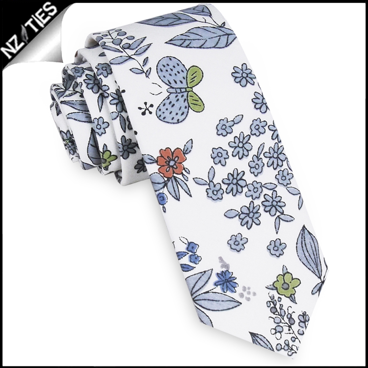 White with Blue, Red & Green Floral Pattern Men's Skinny Tie