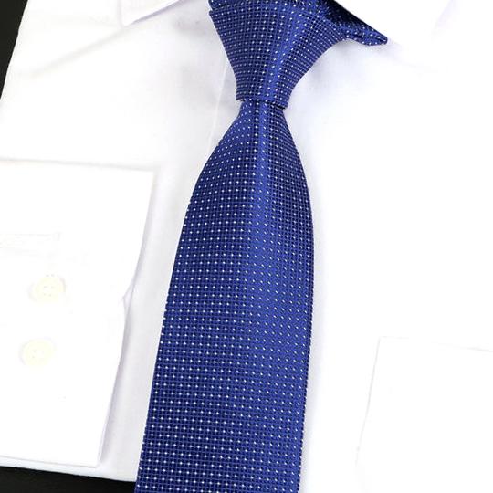 Mid Blue Check Pattern Silk Tie 2