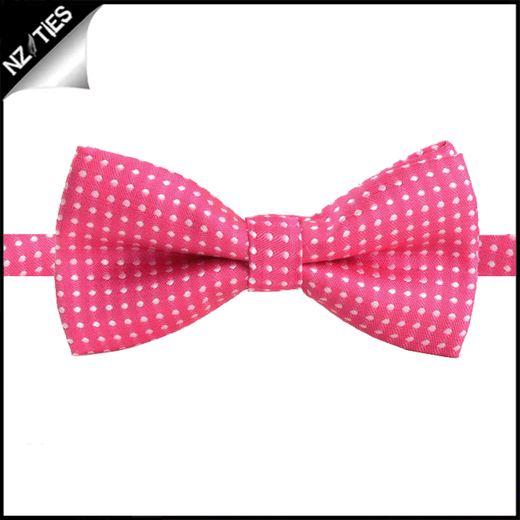 Boys Bright Hot Pink with White Polka Dots Bow Tie