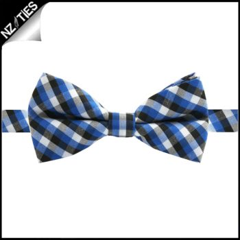 Boys Blue, Black And White Check Bow Tie