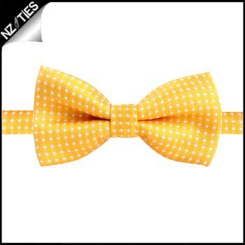 Boys Yellow With White Polkadots Bow Tie