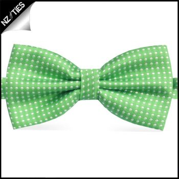 Boys Bright Green With White Polkadots Bow Tie