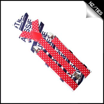 Red With White Polka Dots Boys Braces Suspenders