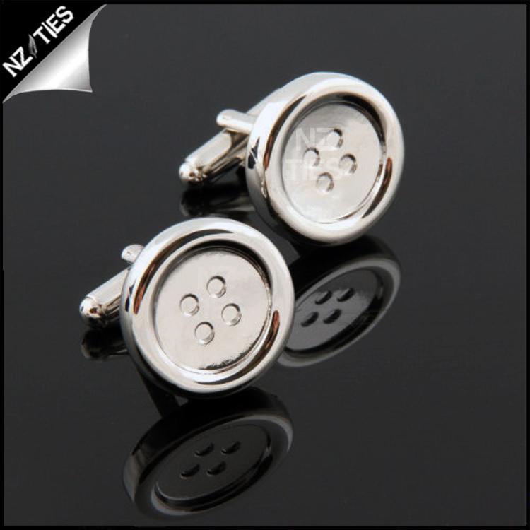 Mens Silver Buttons Cufflinks