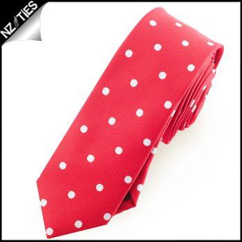 Cherry Red Polka Dot Mens Skinny Necktie