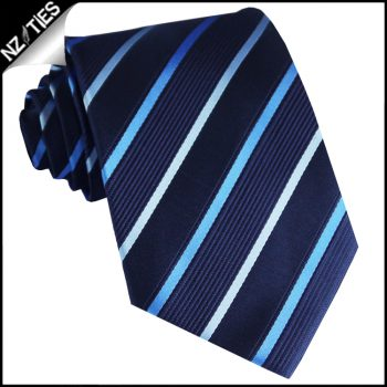 Midnight With Sky Blue And Cobalt Stripes Mens Necktie