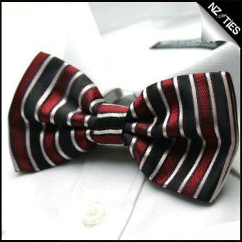 Mens Black Red & White Stripes Bow Tie