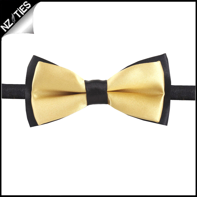 Boys Light Gold with Black Back Bow Tie