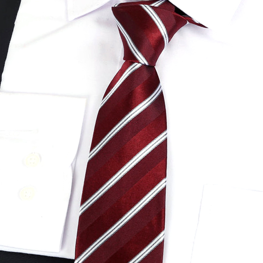 Burgundy & White Stripes Silk Tie 2