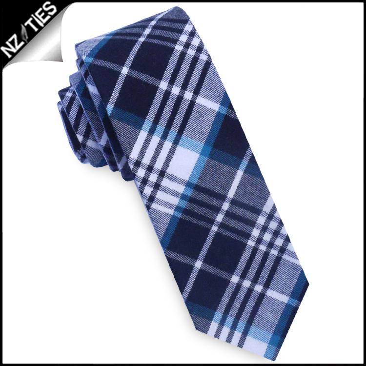 Jade, Black & White Tartan Plaid Skinny Tie