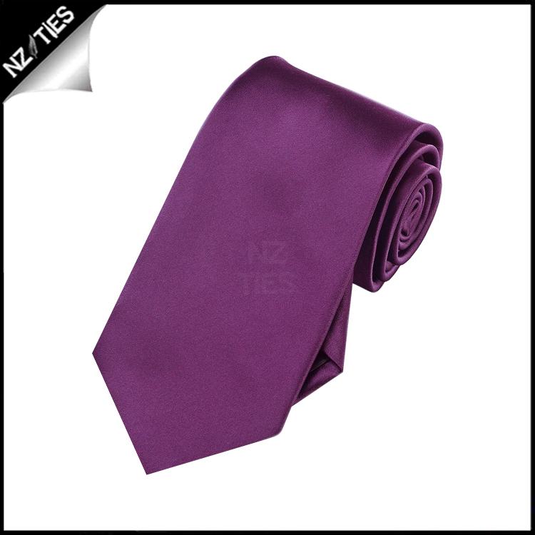 Boys Plum Grape Purple Plain Necktie