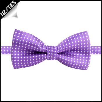 Boys Violet With White Polkadots Bow Tie