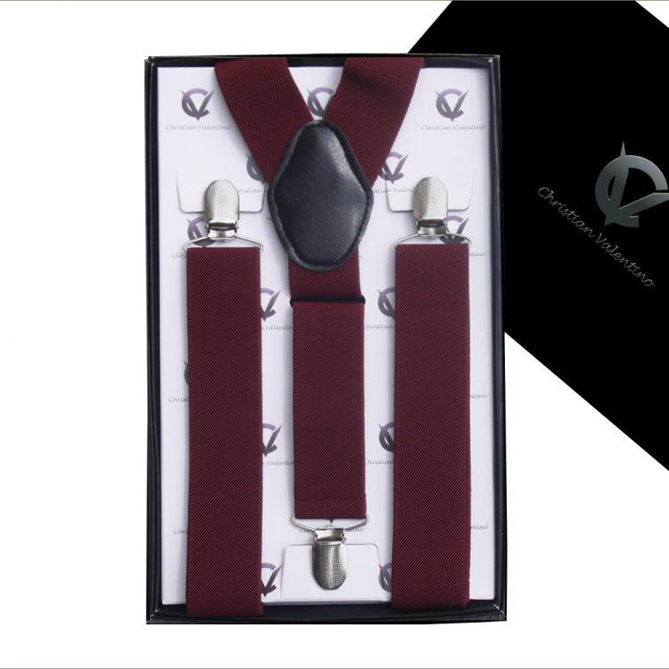 Burgundy Y3.5cm Men's Braces Suspenders