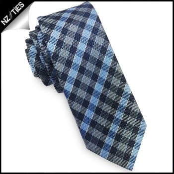 Dark Blue, Light Blue & Grey Check Skinny Tie