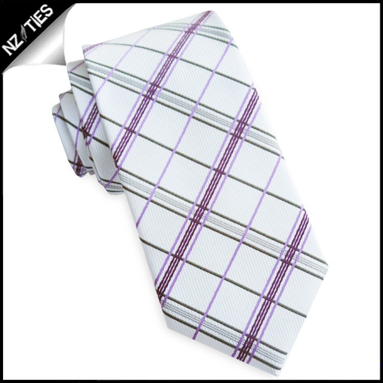 Ivory with Purple & Grey Plaid Slim Tie