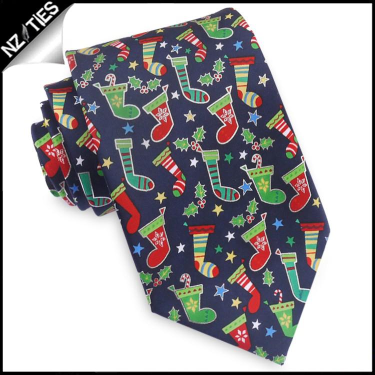 Dark Blue with Christmas Stockings Tie