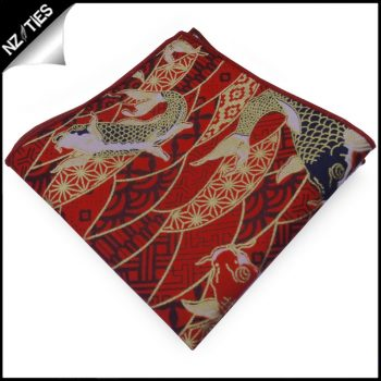 Red & Gold Koi Fish Pocket Square