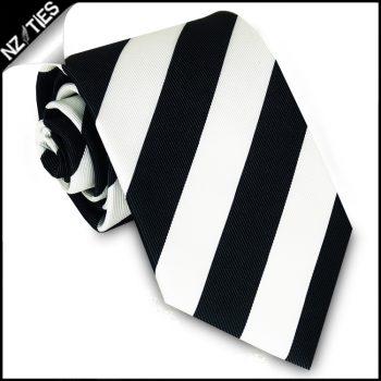 Black & White Stripes Mens Sports Necktie