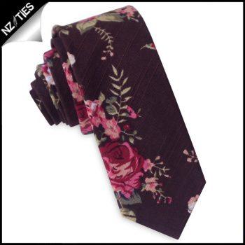 Brown With Pink Flowers Men's Skinny Tie