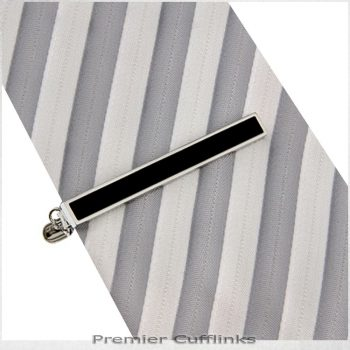 Silver With Black Inset Tie Clip