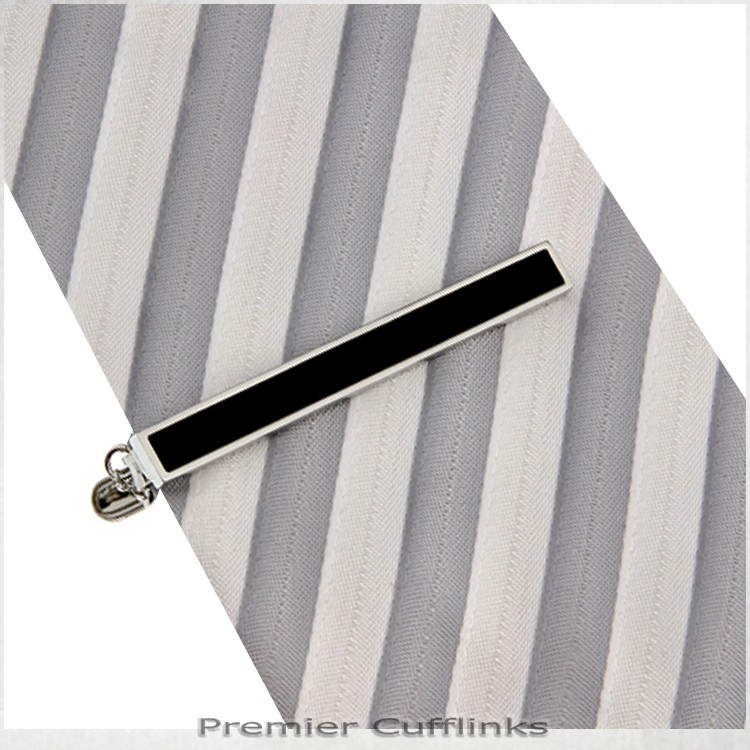 Silver with Black Inset Tie Clip