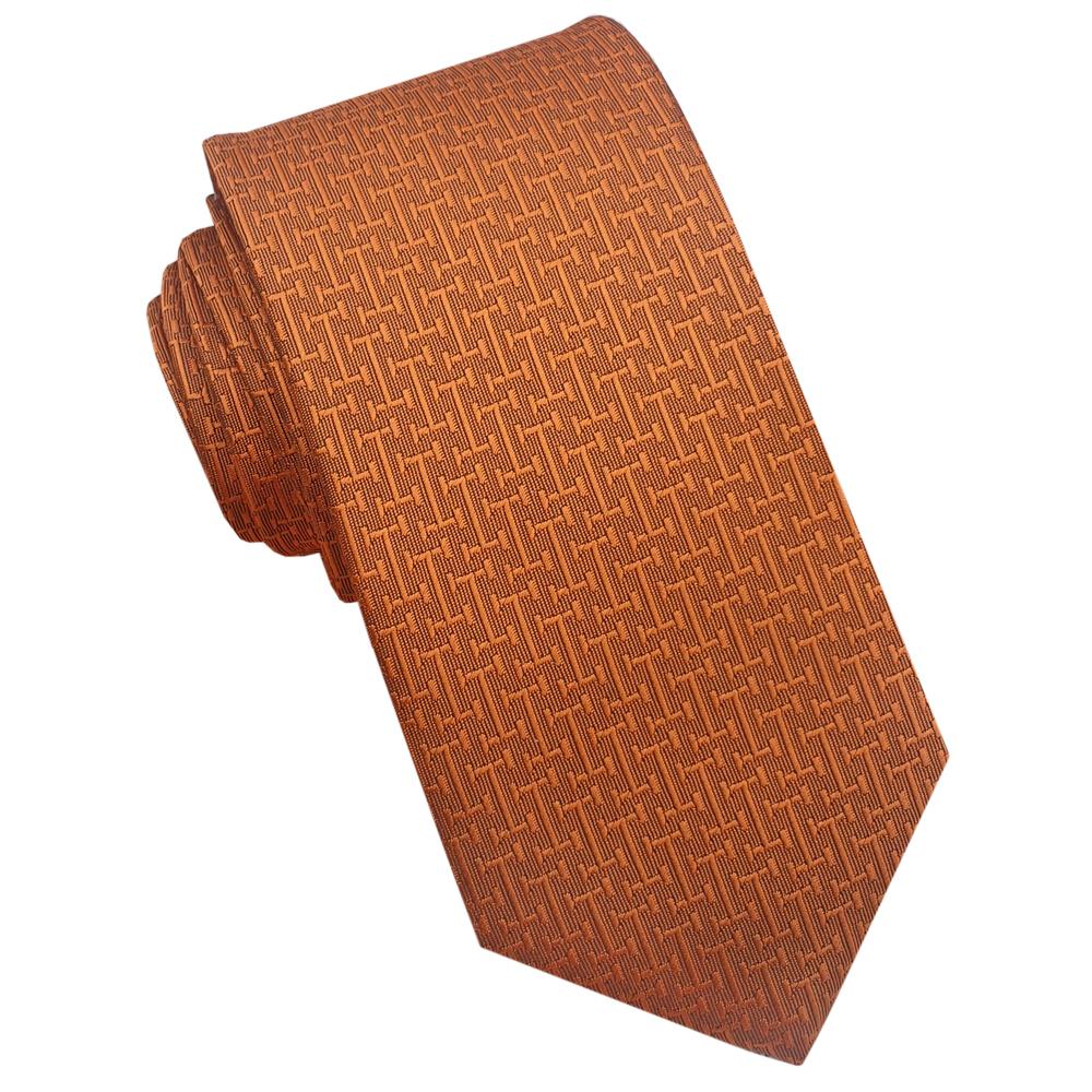 Burnt Orange Bar Texture Mens 7cm Necktie