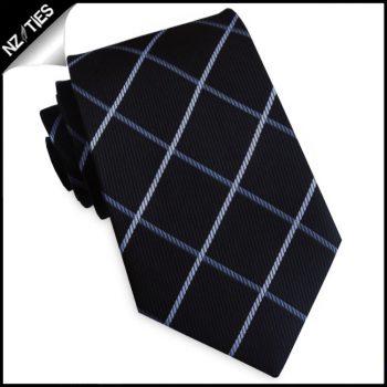 Black With Mid & Light Grey Diamonds Mens Tie