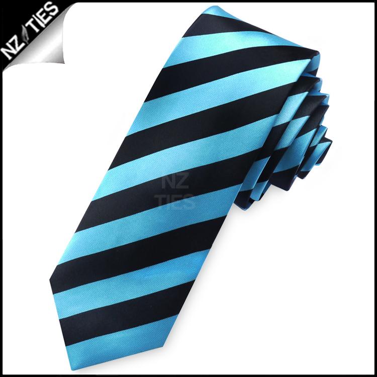 Light Blue & Black Mens Skinny Tie