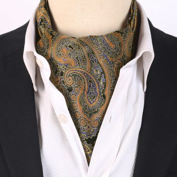 Men's Black With Blue & Gold Paisley Ascot Cravat