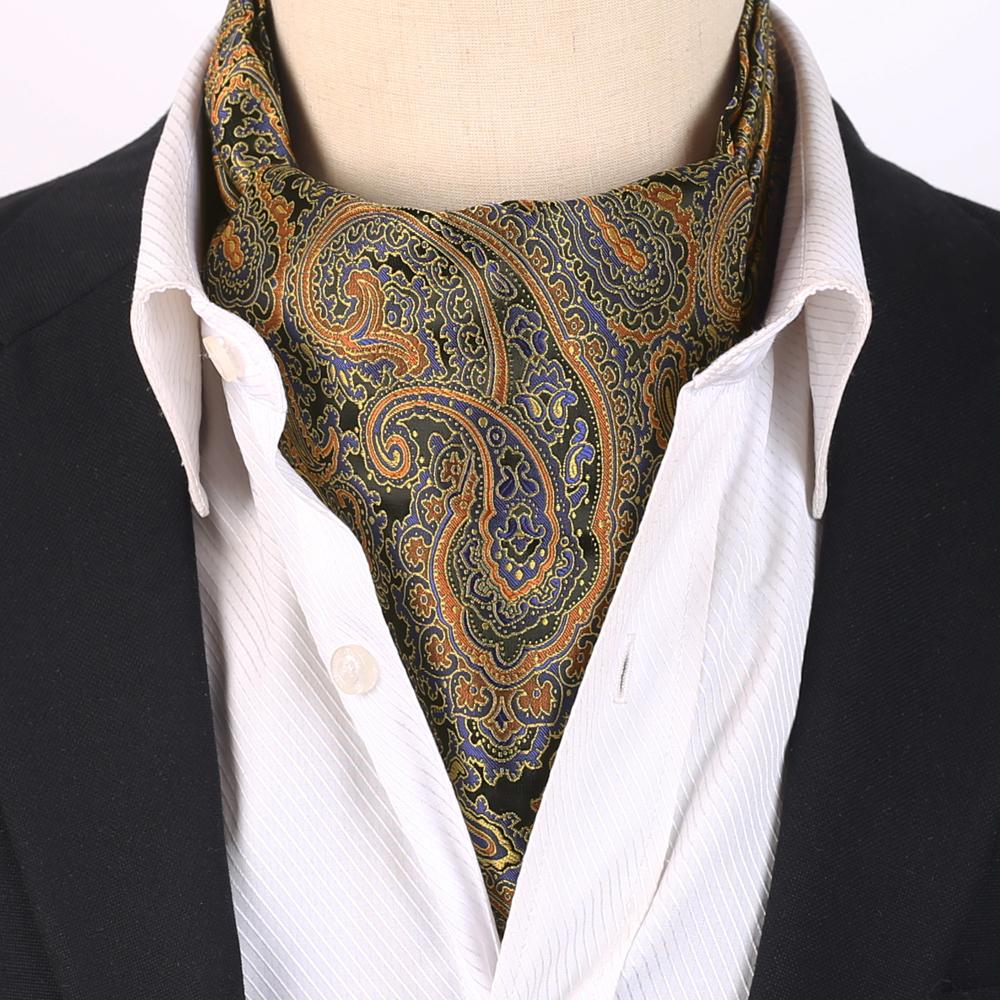 Men's Black with Blue & Gold Paisley Ascot Cravat