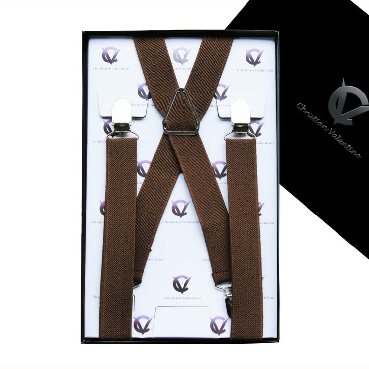 Mid Brown X2.5cm Boy's Braces Suspenders