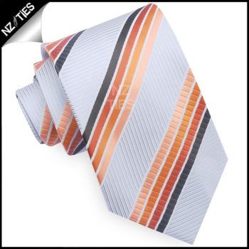 Light Grey With Orange & Dark Brown Stripes Mens Tie