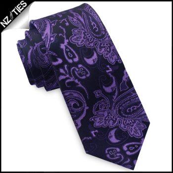 Black & Purple Paisley Mens Skinny Necktie
