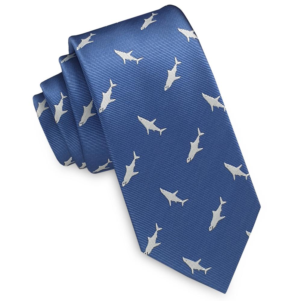 Denim Blue with White Sharks Skinny Tie