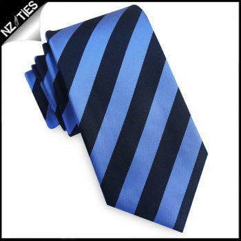 Black And Mid Blue Stripes Mens Necktie