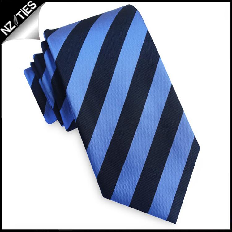 Black and Mid Blue Stripes Mens Necktie