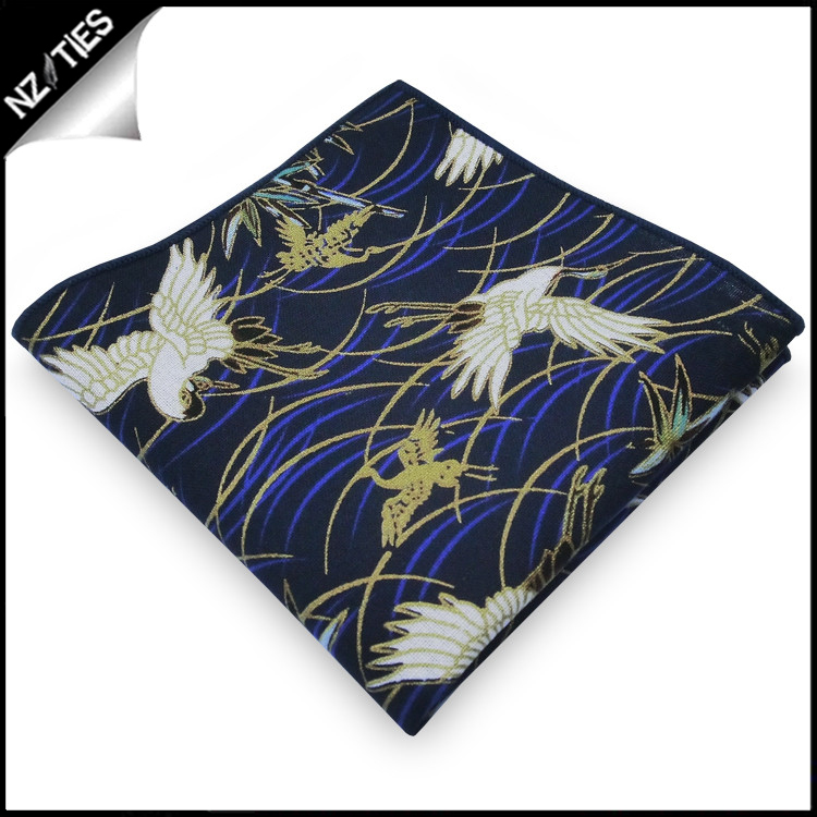 Black with Blue, White & Gold Herons Pocket Square