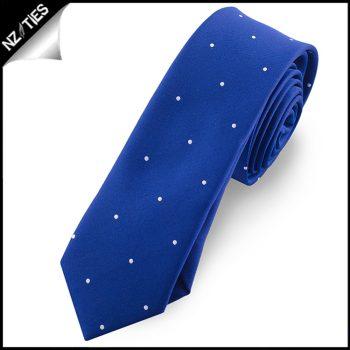 Navy Blue Pin Dot Mens Skinny Necktie