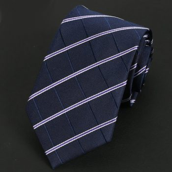 Dark Blue Diamonds With White & Purple Stripes Silk Tie