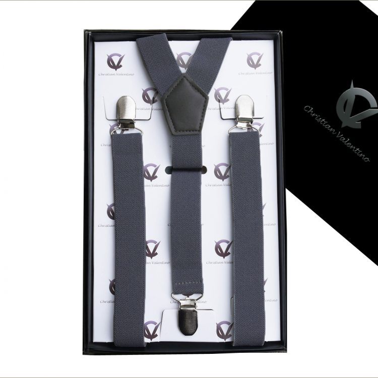 Dark Grey Y2.5cm Large Men's Braces Suspenders