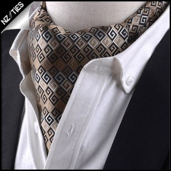 Gold, Black & White Greek Key Ascot Cravat