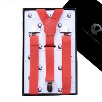 Men's Dark Coral Salmon Y2.5cm Braces Suspenders