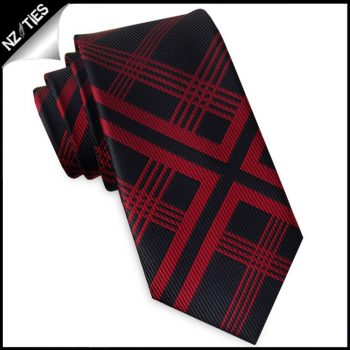 Black With Red Lattice Slim Tie